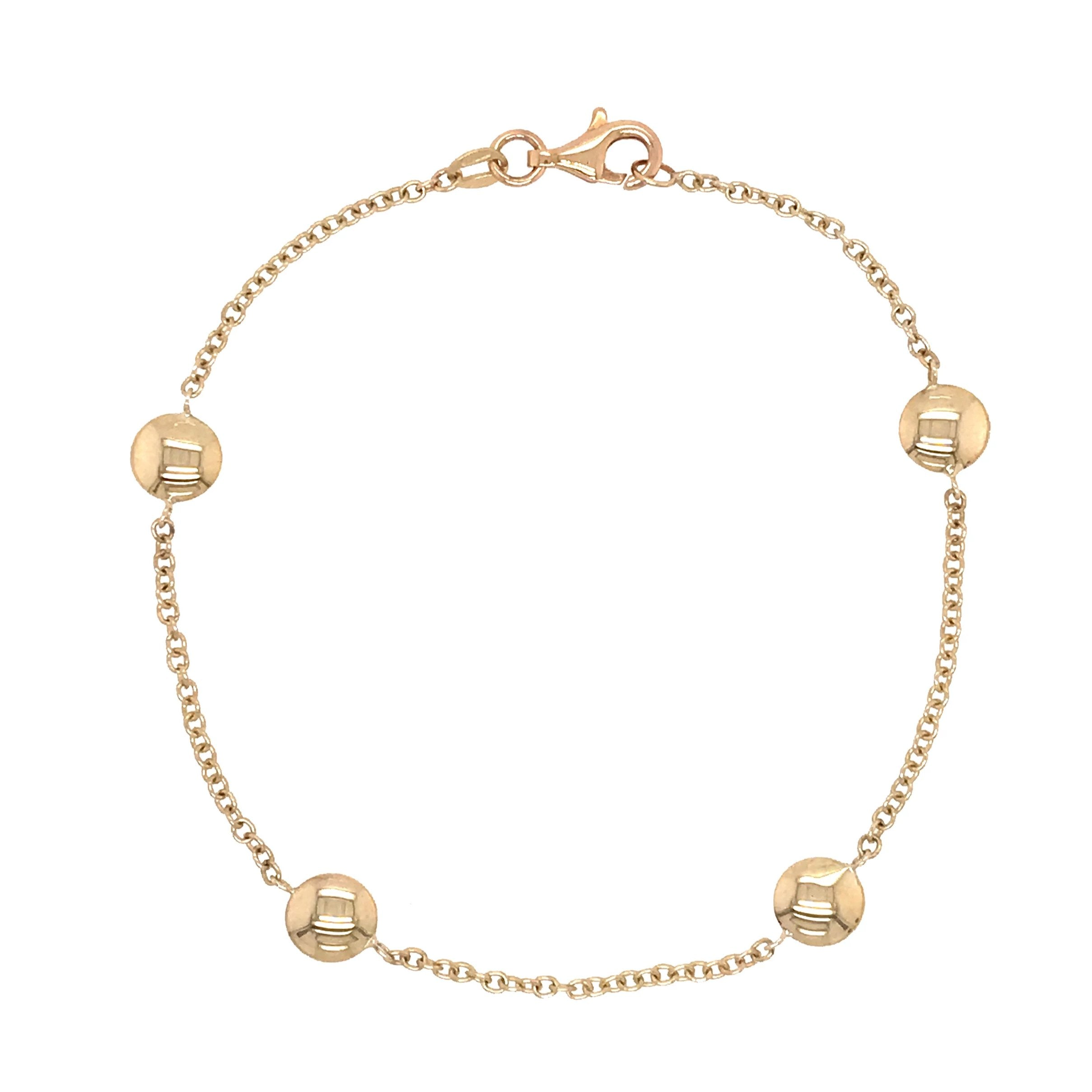 9ct Yellow Gold Round Bead Bracelet - Andrew Scott