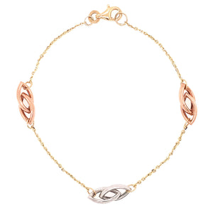 9ct Tricolour Marquise Linked Bracelet