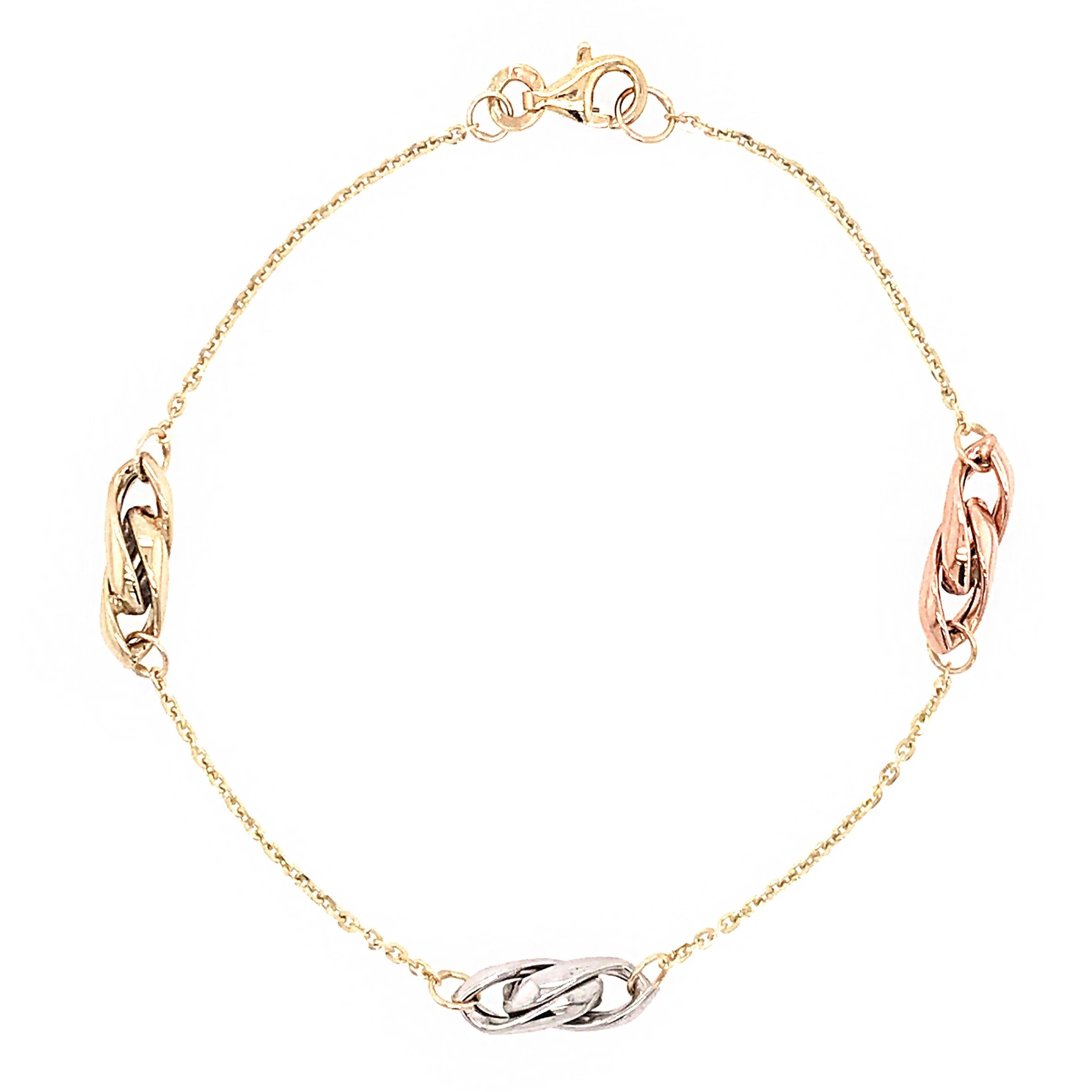 9ct Tricolour Chain Link Bracelet - Andrew Scott