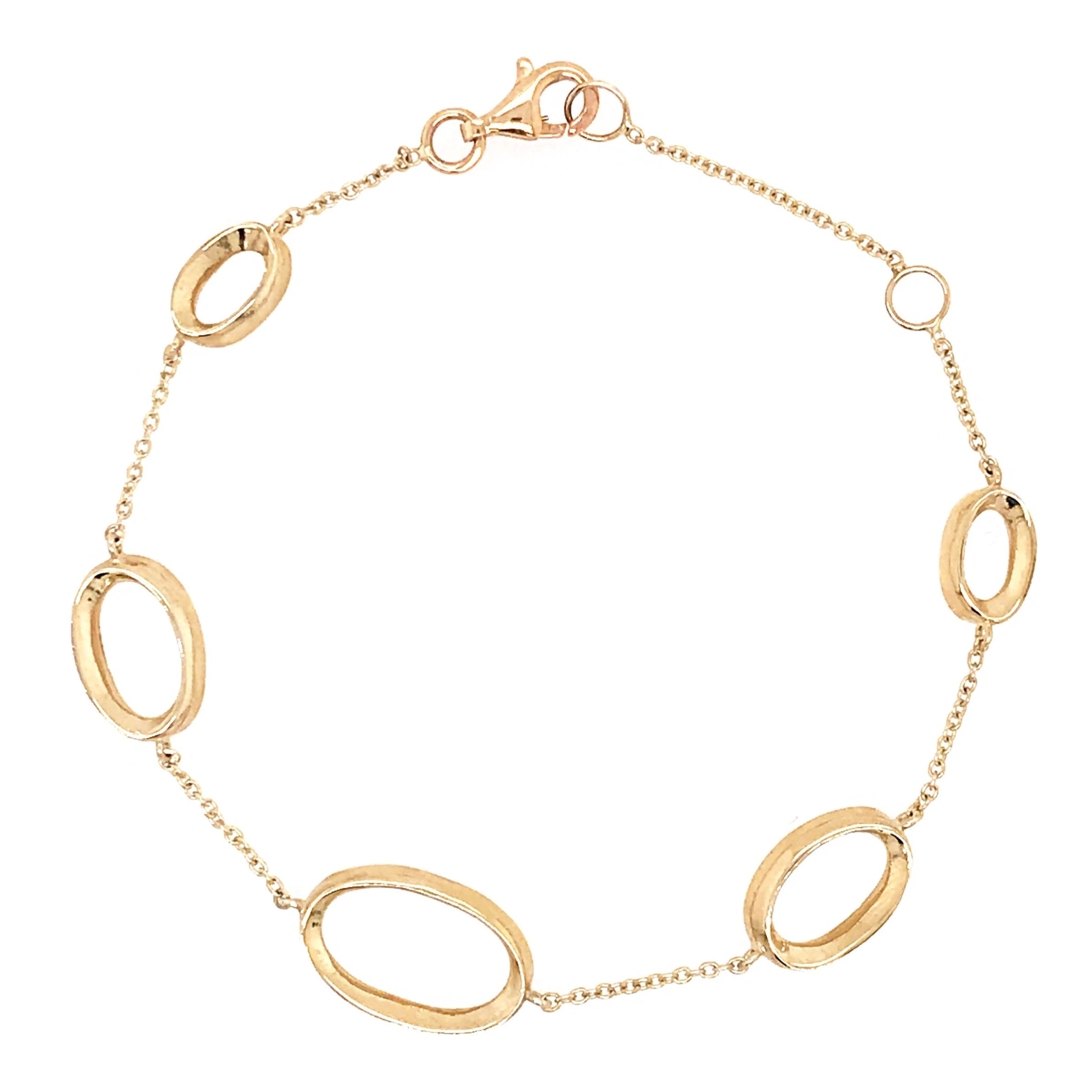9ct Yellow Gold Oval Link Chain Bracelet