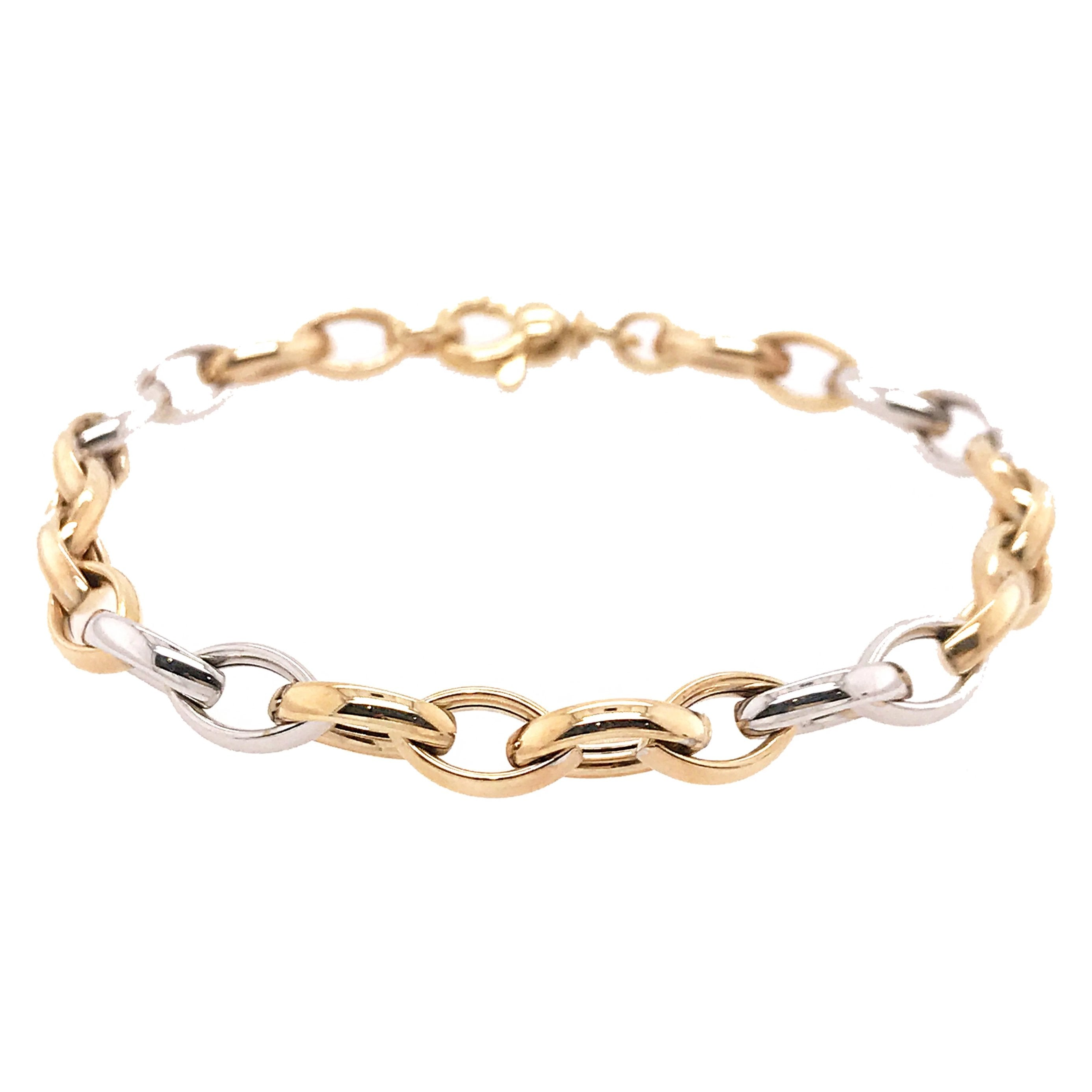 9ct Yellow & White Gold Marquise Linked Bracelet
