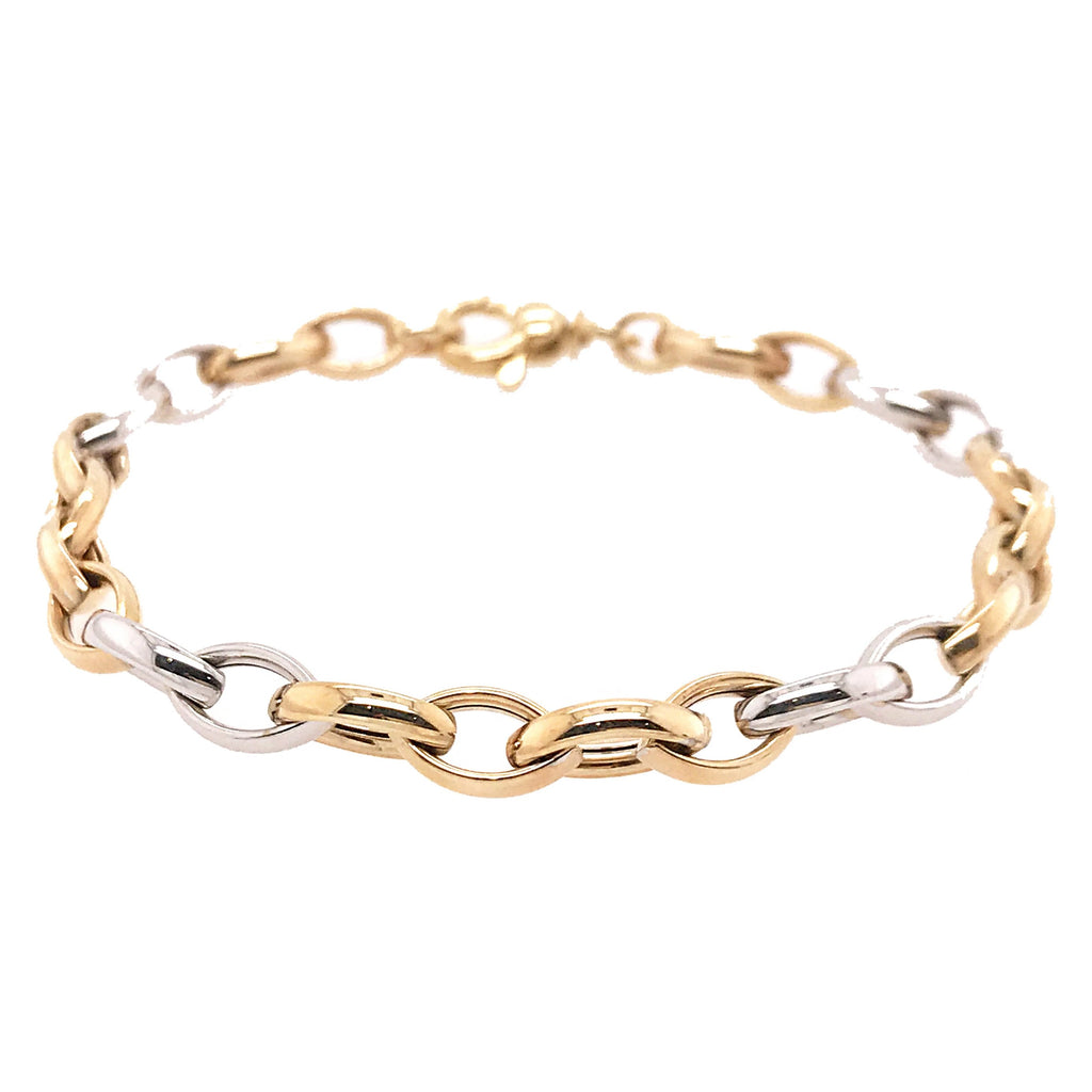 9ct Yellow & White Gold Marquise Linked Bracelet - Andrew Scott