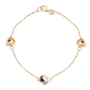 9ct Yellow & White Gold Knot Chain Bracelet - Andrew Scott