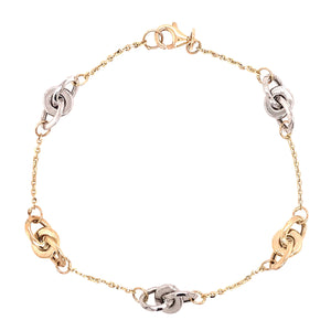 9ct Yellow & White Gold Ring & Chain Bracelet - Andrew Scott