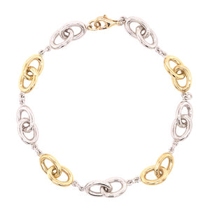 9ct Yellow & White Gold Oval Linked Bracelet
