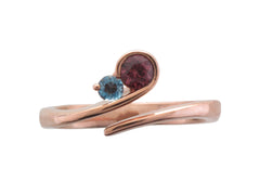 9ct Rose Gold Rhodolite Garnet and Blue Topaz Curl Ring