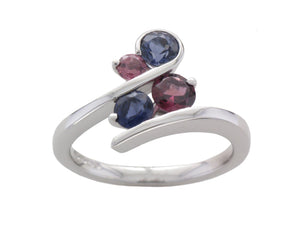 9ct White Gold Iolite and Rhodolite Garnet Curl Ring - Andrew Scott