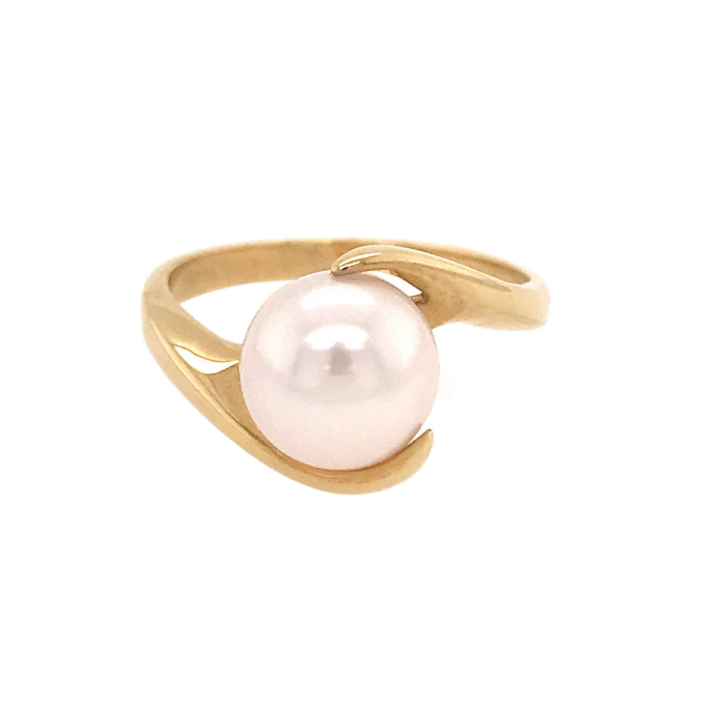 9ct Yellow Gold Freshwater Pearl Crossover Ring