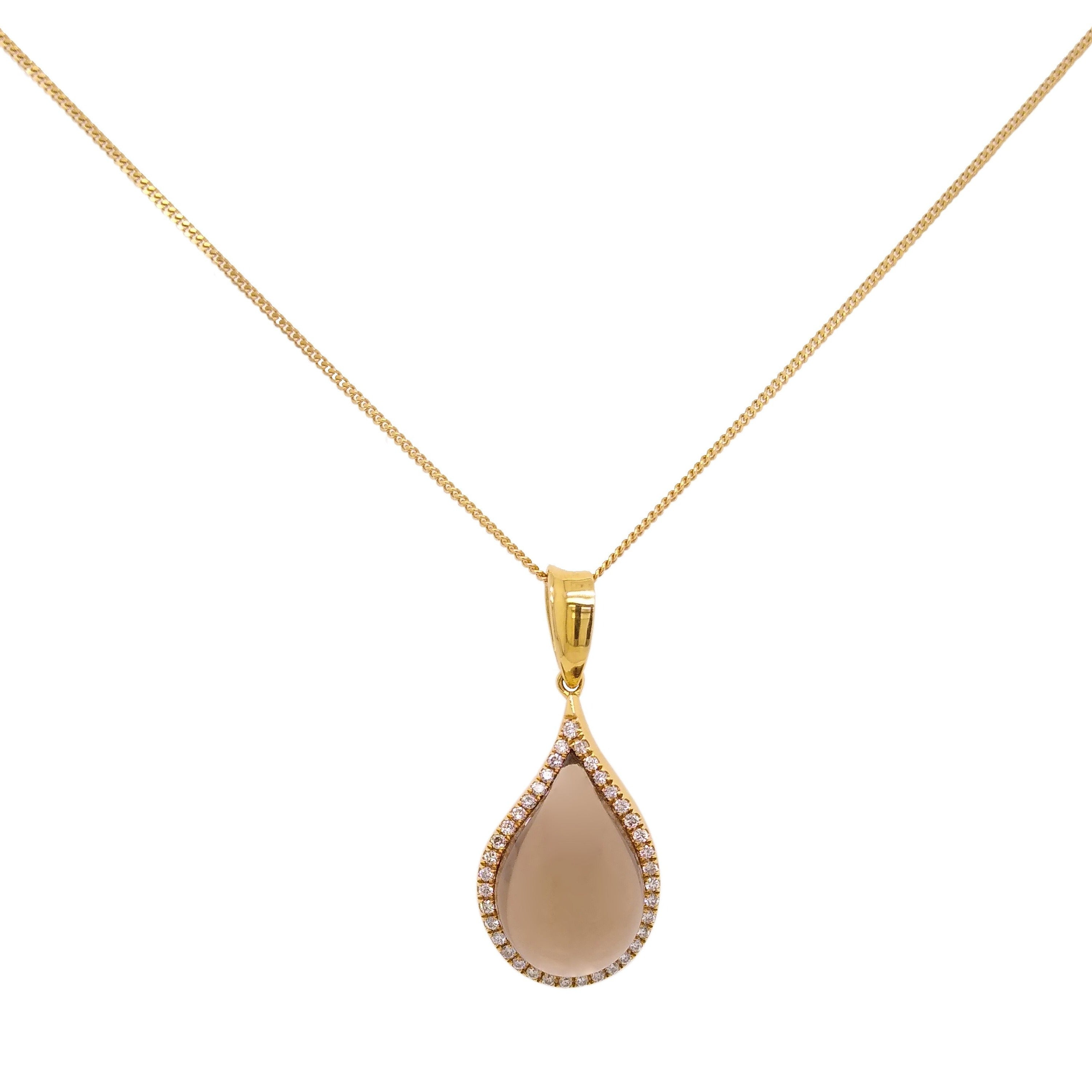 18ct Yellow Gold Smoky Quartz & Diamond Pendant & Chain