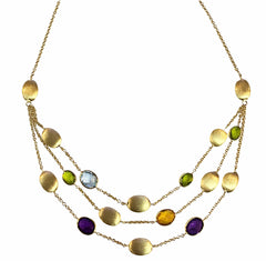 Handmade 9ct Yellow Gold Oval Multi Gemstone Necklace