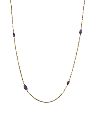 9ct Yellow Gold Marquise Amethyst Necklace - Andrew Scott