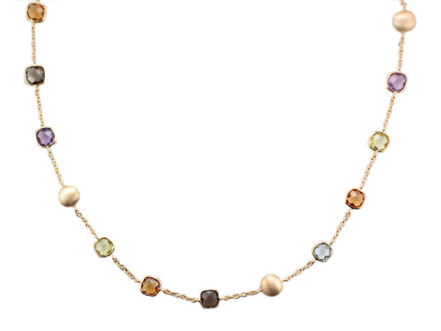 9ct Yellow Gold Multi Gemstone Necklace - Andrew Scott