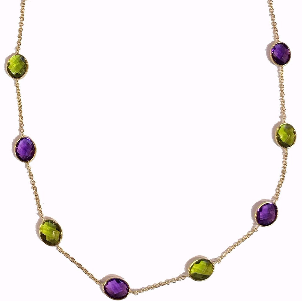 9ct Yellow Gold Amethyst and Peridot Chain Necklace - Andrew Scott