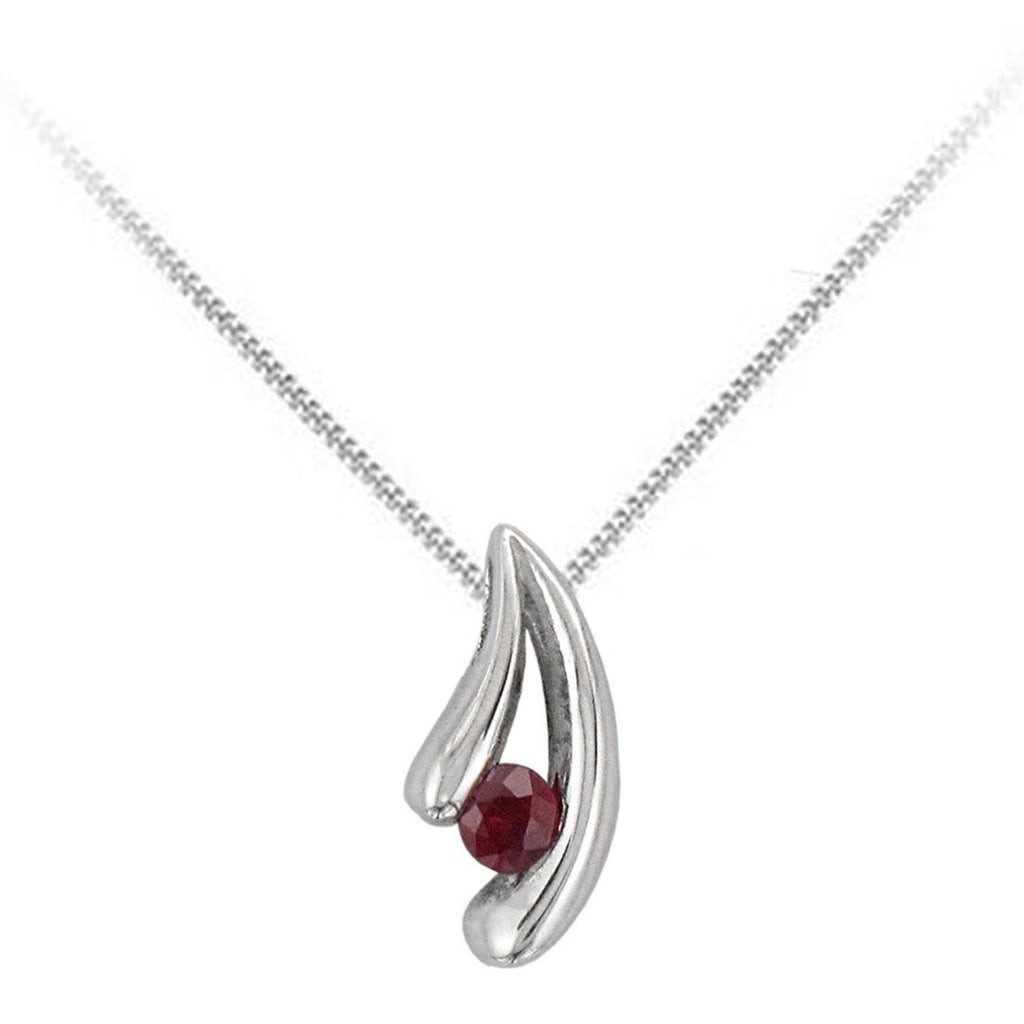 18ct White Gold Ruby V Shaped Pendant & Chain - Andrew Scott