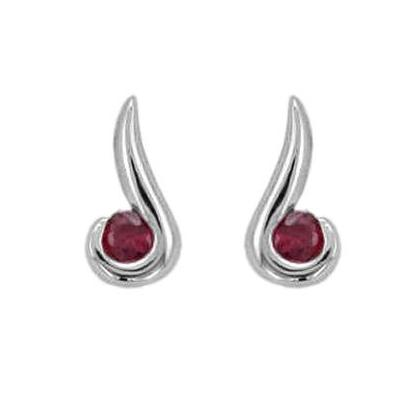 Handmade 18ct White Gold Ruby Curl Earrings - Andrew Scott