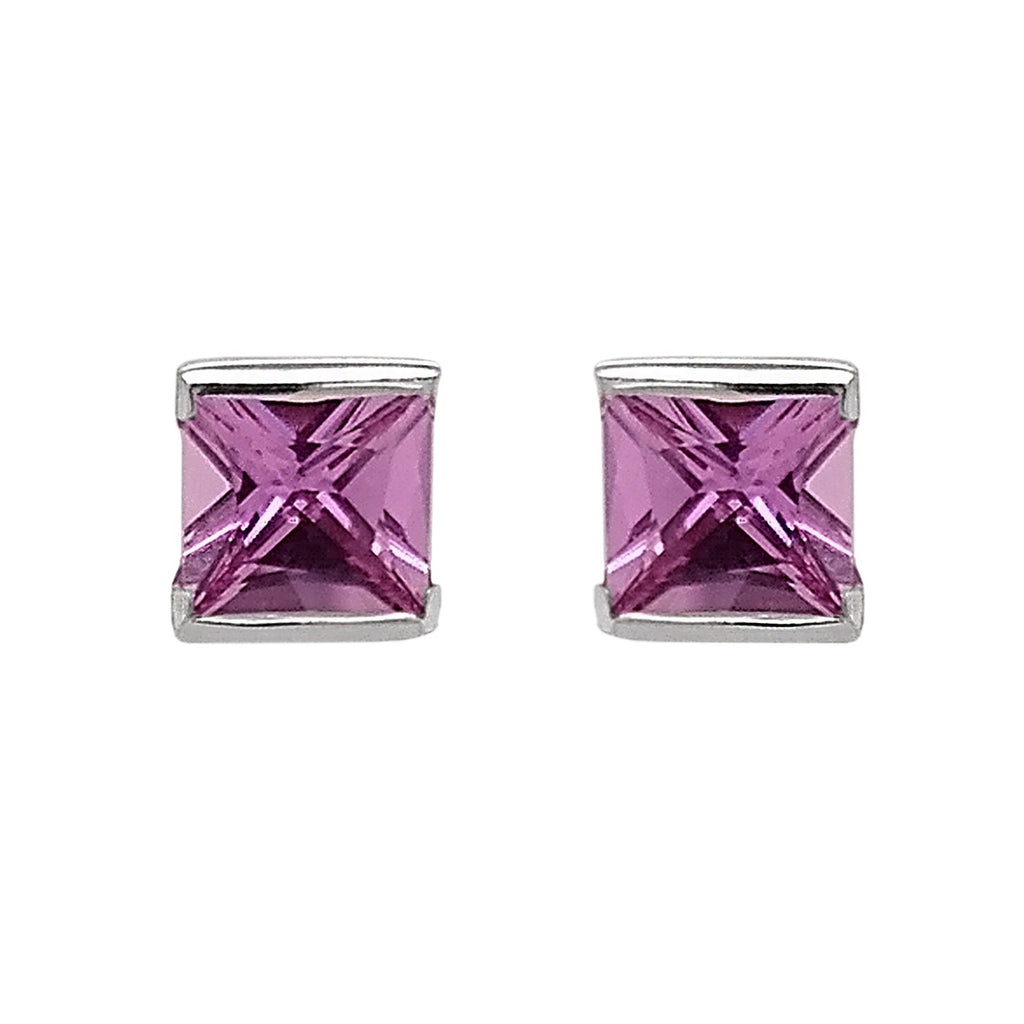 18ct White Gold Demi-set Pink Sapphire Stud Earrings