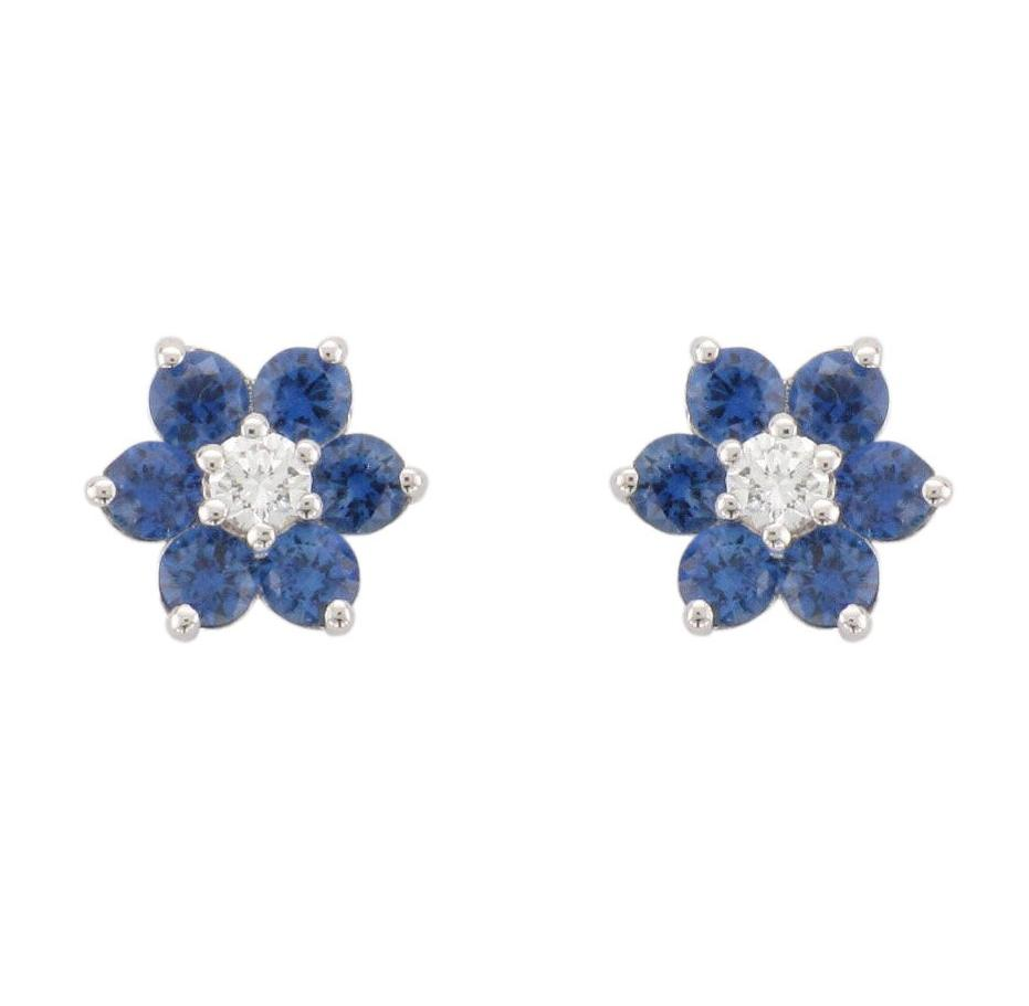 18ct White Gold Blue Sapphire & Diamond Flower Earrings - Andrew Scott