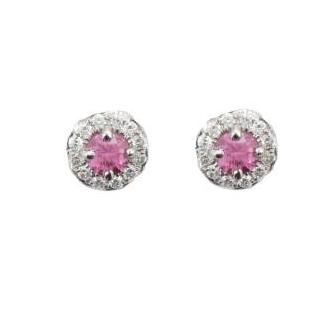18ct White Gold Pink Sapphire & Diamond Earrings - Andrew Scott