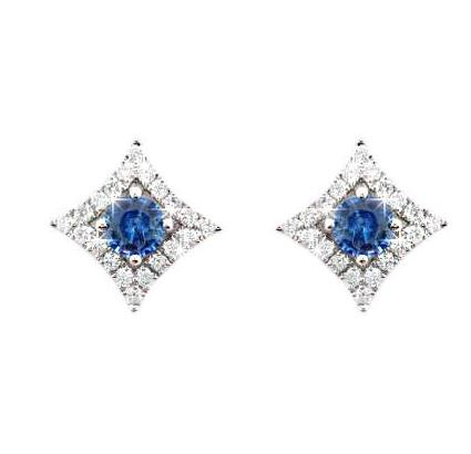 18ct White Gold Blue Sapphire & Diamond Detachable Surround Earrings - Andrew Scott