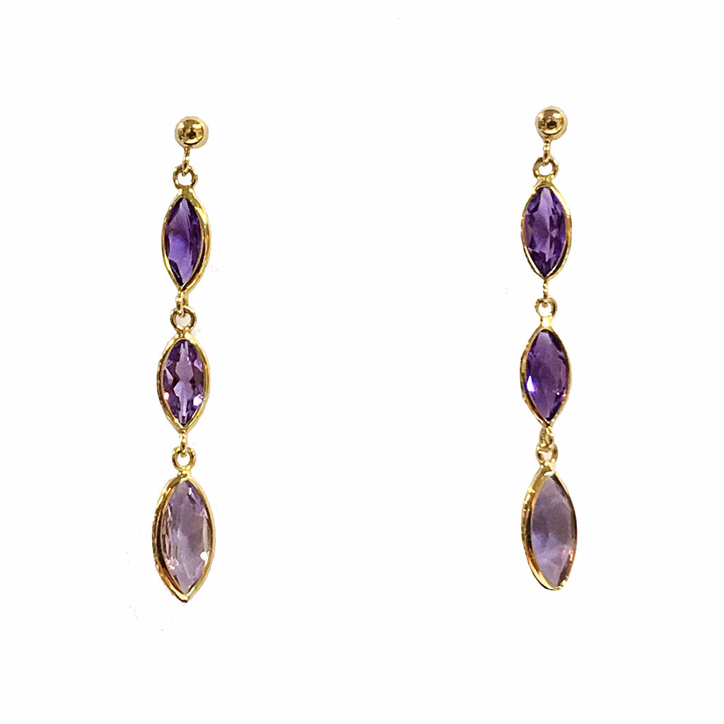 9ct Yellow Gold Marquise Cut Amethyst Drop Earrings - Andrew Scott
