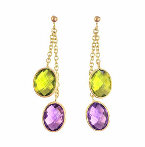 9ct Yellow Gold Oval Amethyst and Peridot Double Chain Drop Earrings - Andrew Scott