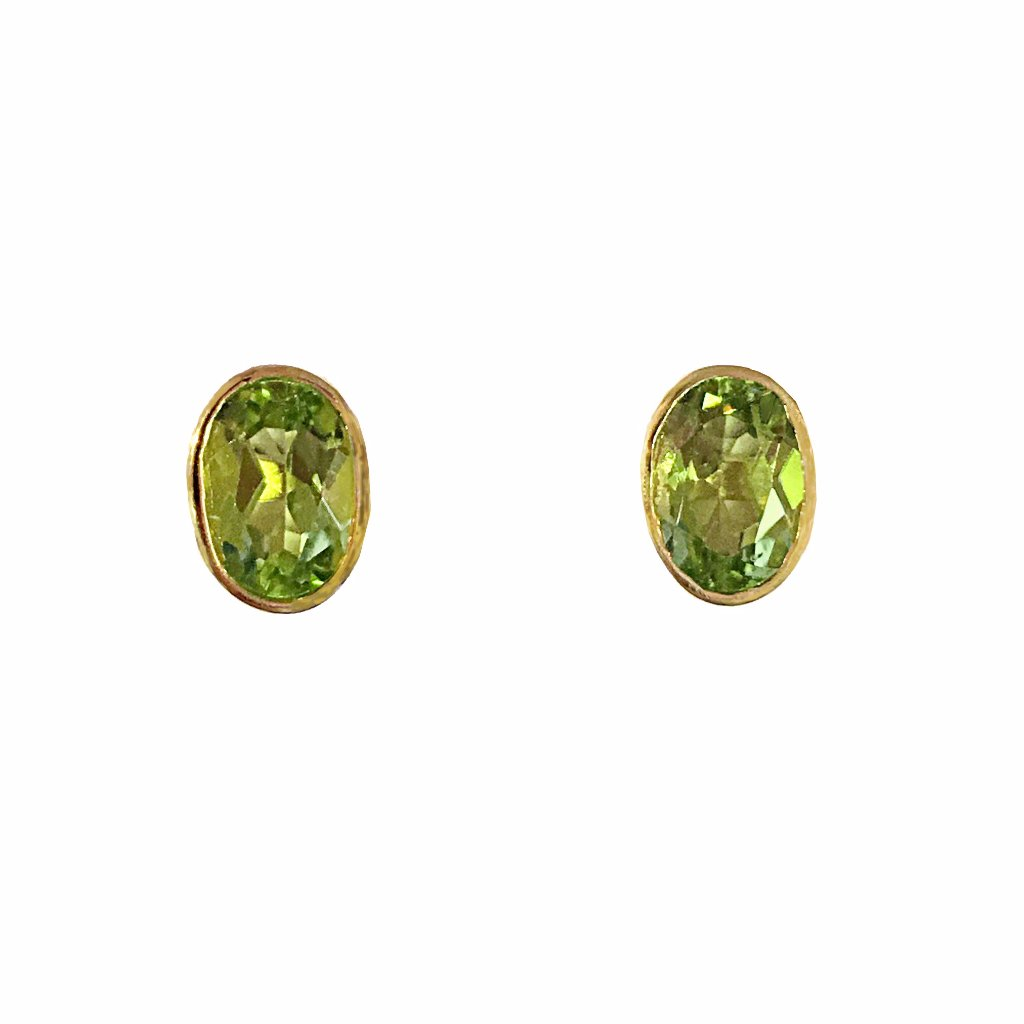 9ct Yellow Gold Oval Peridot Stud Earrings - Andrew Scott