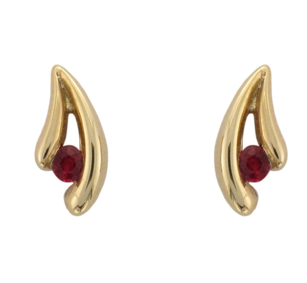 18ct Yellow Gold Ruby V Shaped Stud Earrings - Andrew Scott