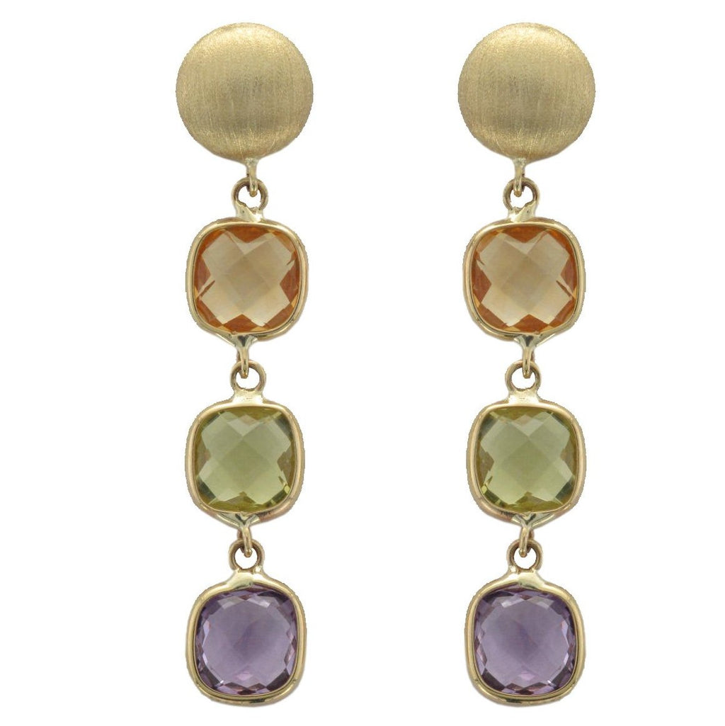 9ct Yellow Gold Multi Gem Drop Earrings - Andrew Scott