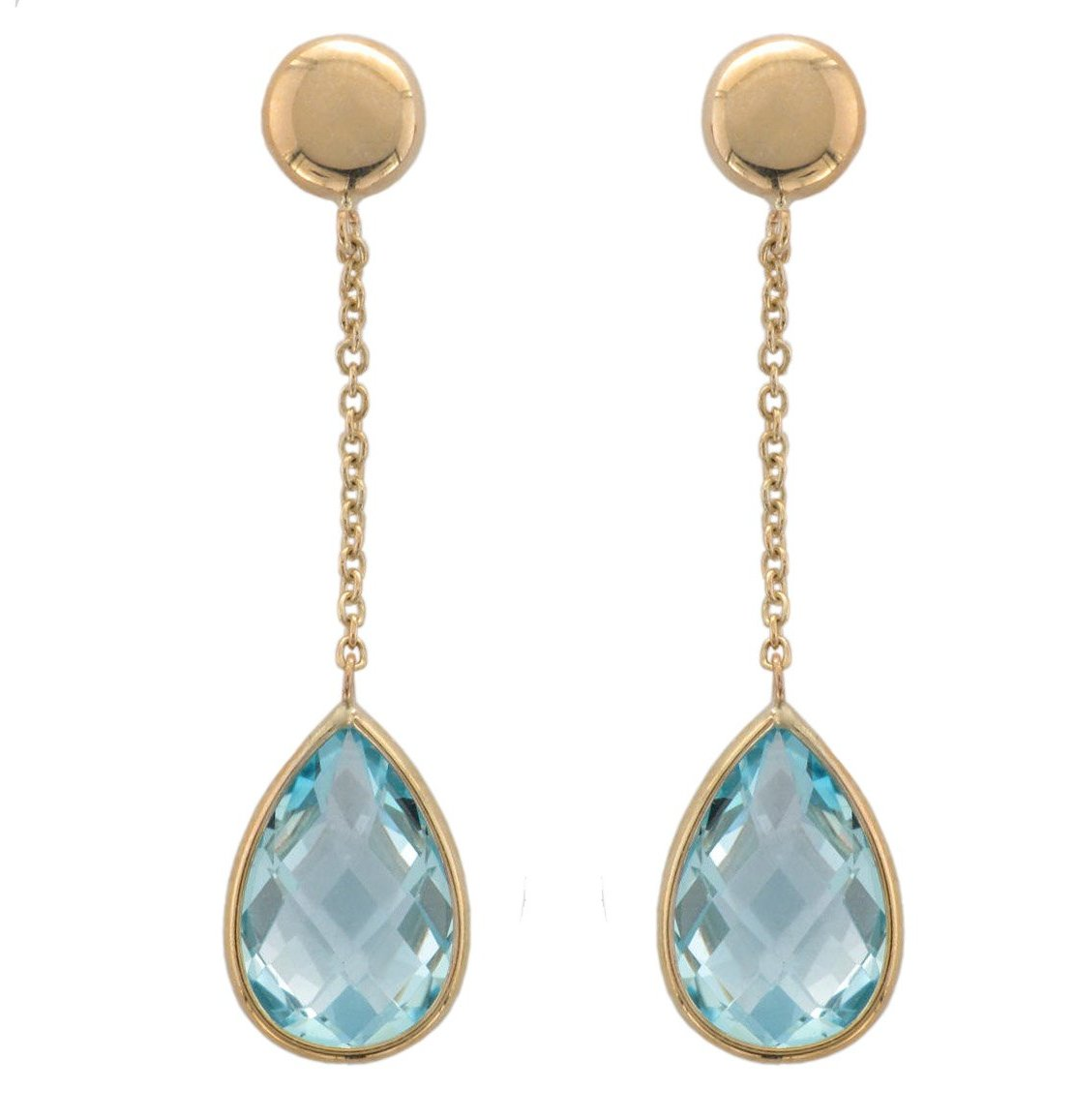 9ct Yellow Gold Blue Topaz Drop Earrings - Andrew Scott