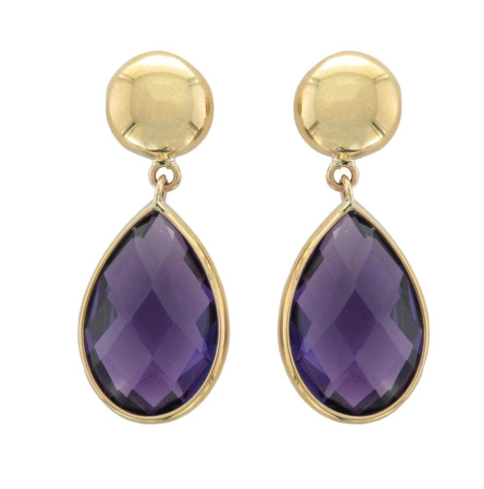 9ct Yellow Gold Amethyst Pear Drop Earrings - Andrew Scott