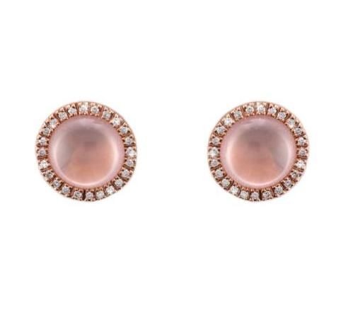 14ct Rose Gold Cabouchon-cut Rose Quartz Diamond Earrings - Andrew Scott