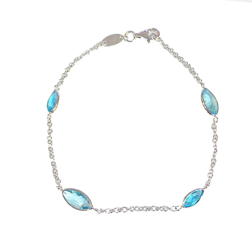 9ct White Gold Marquise Cut Blue Topaz 19.5cm Bracelet - Andrew Scott