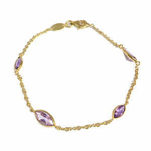 9ct Yellow Gold Marquise Amethyst Bracelet - Andrew Scott