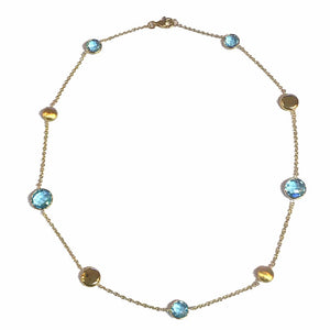 9ct Yellow Gold Chequerboard Blue Topaz & Bead Necklace - Andrew Scott