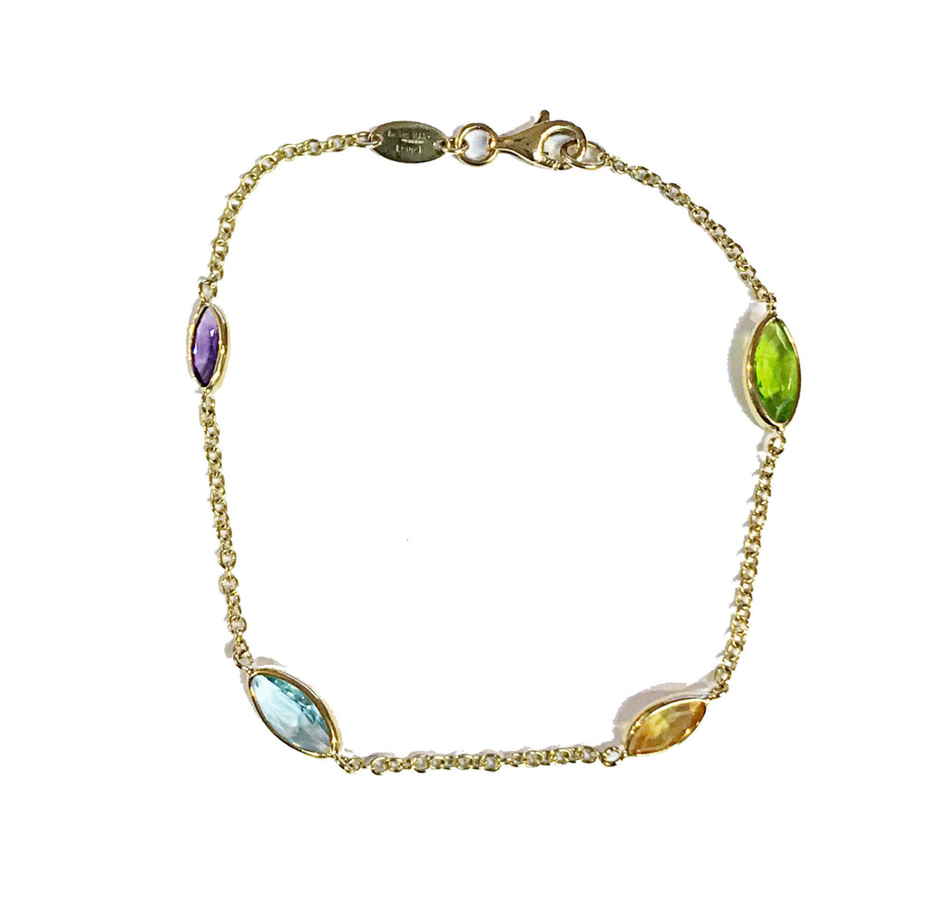 9ct Yellow Gold Multi Marquise Gemstone Bracelet - Andrew Scott