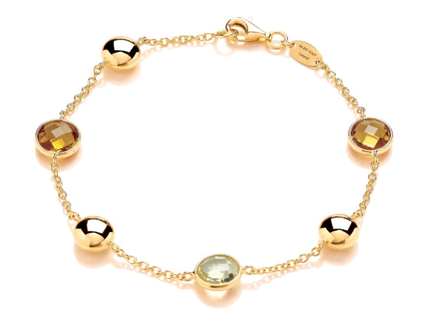 9ct Yellow Gold Citrine & Lemon Quartz Bracelet - Andrew Scott