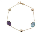 9ct Yellow Gold Amethyst & Blue Topaz Bracelet - Andrew Scott