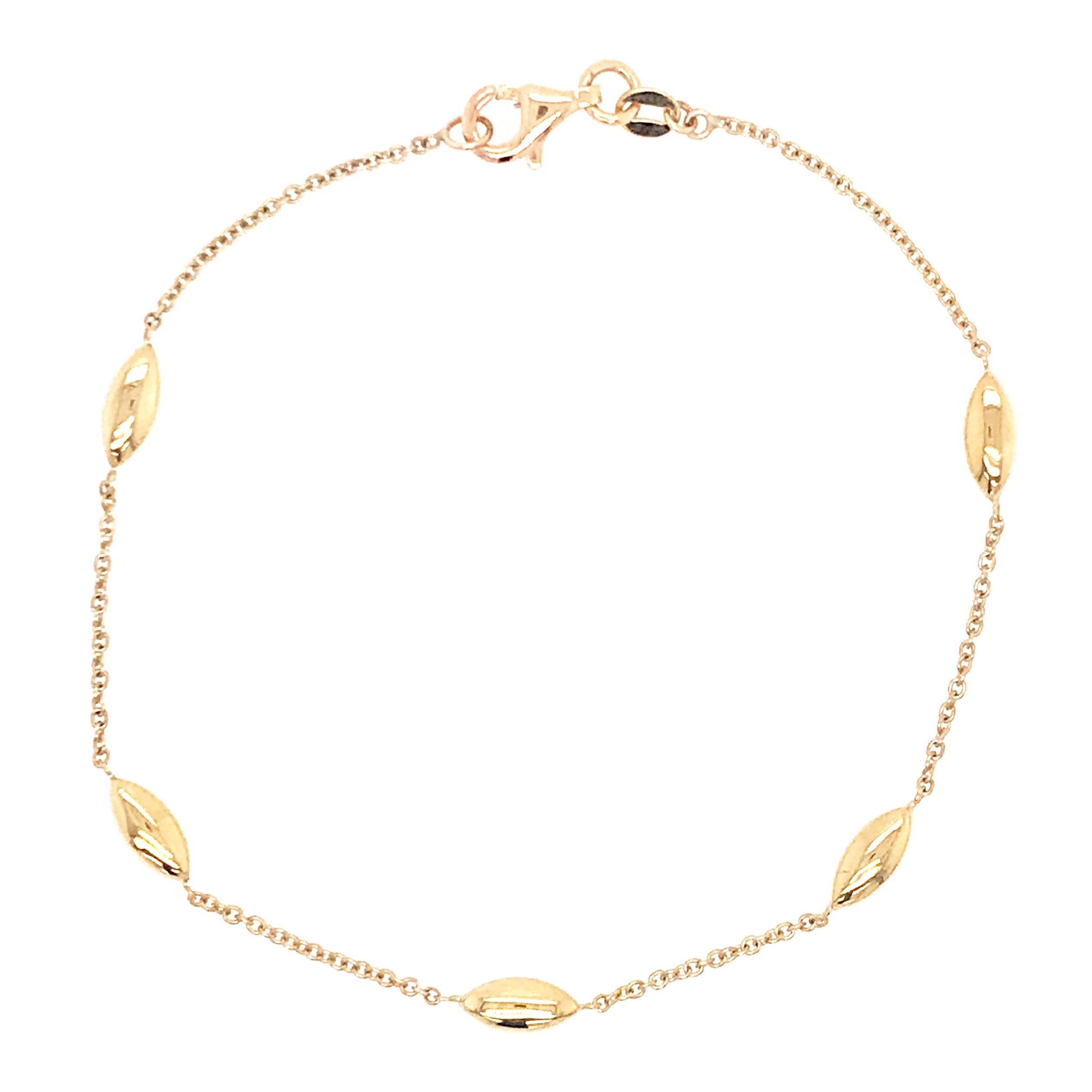 9ct Yellow Gold Marquise Bead Bracelet