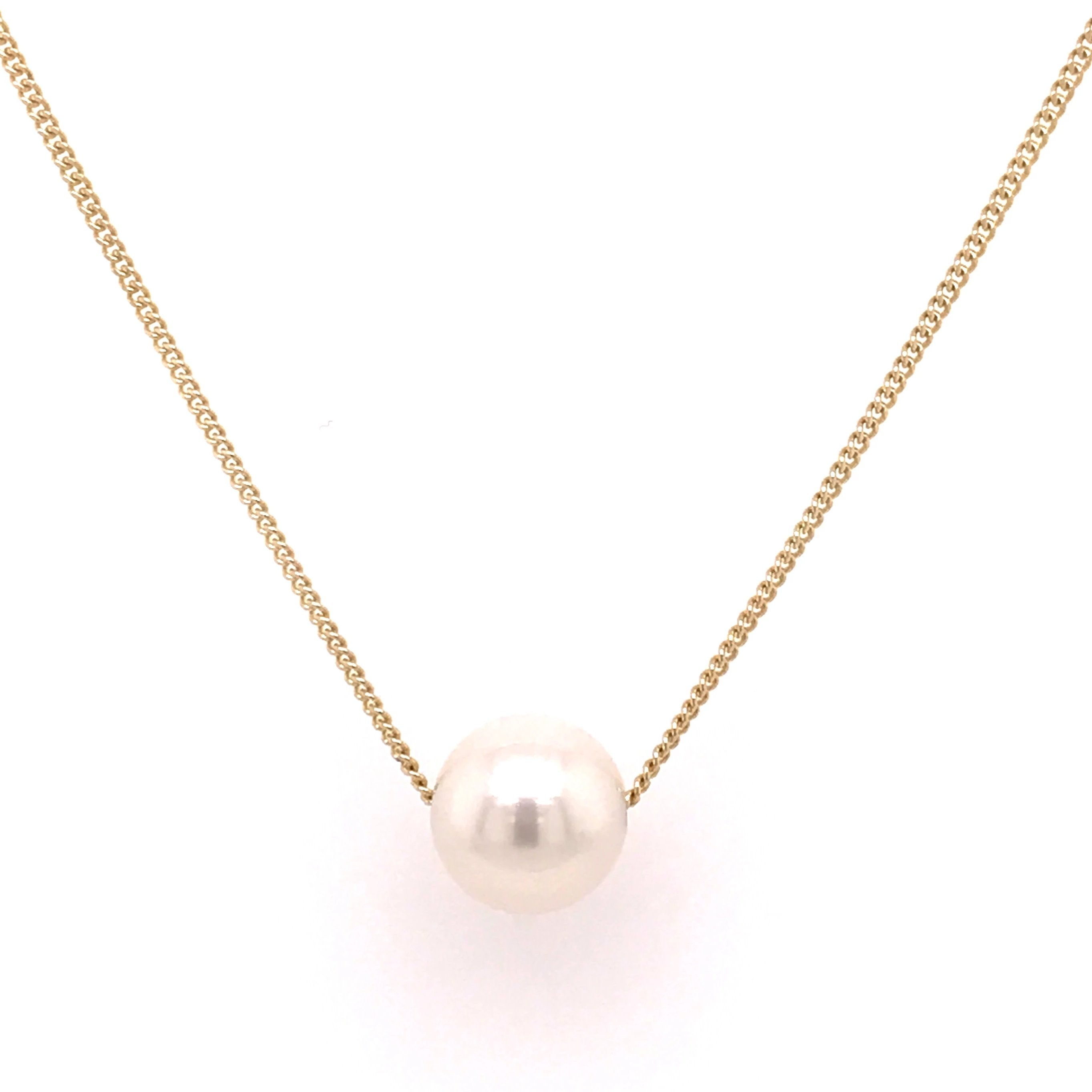 9ct Yellow Gold White Freshwater Slider Necklace - Andrew Scott