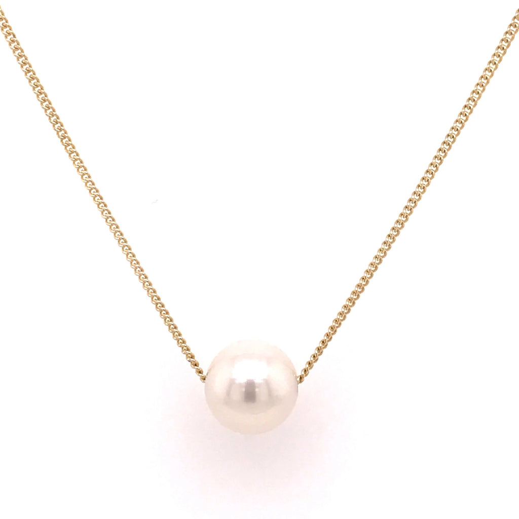 9ct Yellow Gold White Freshwater Slider Necklace