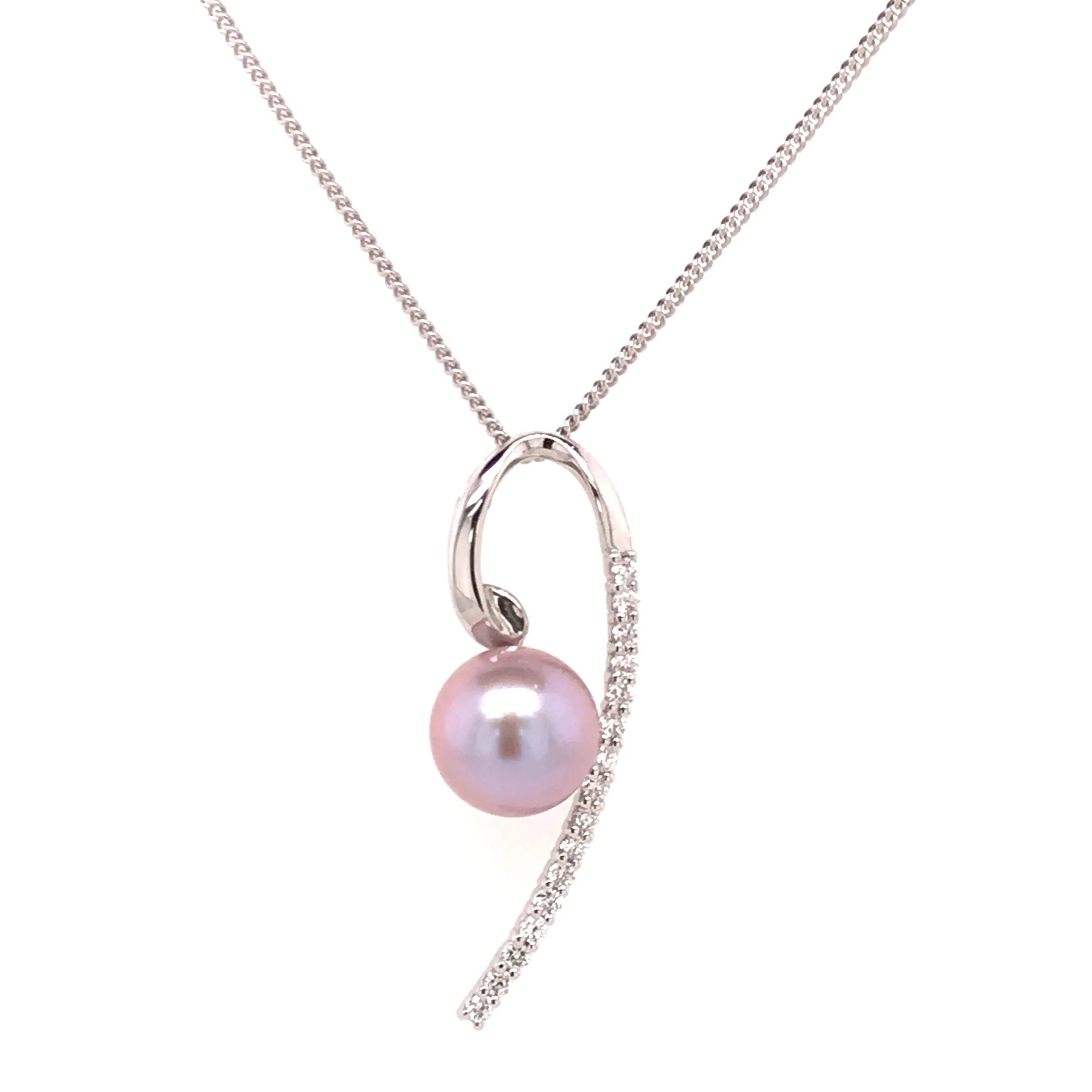 9ct White Gold Pearl & Diamond Pendant & Chain - Andrew Scott