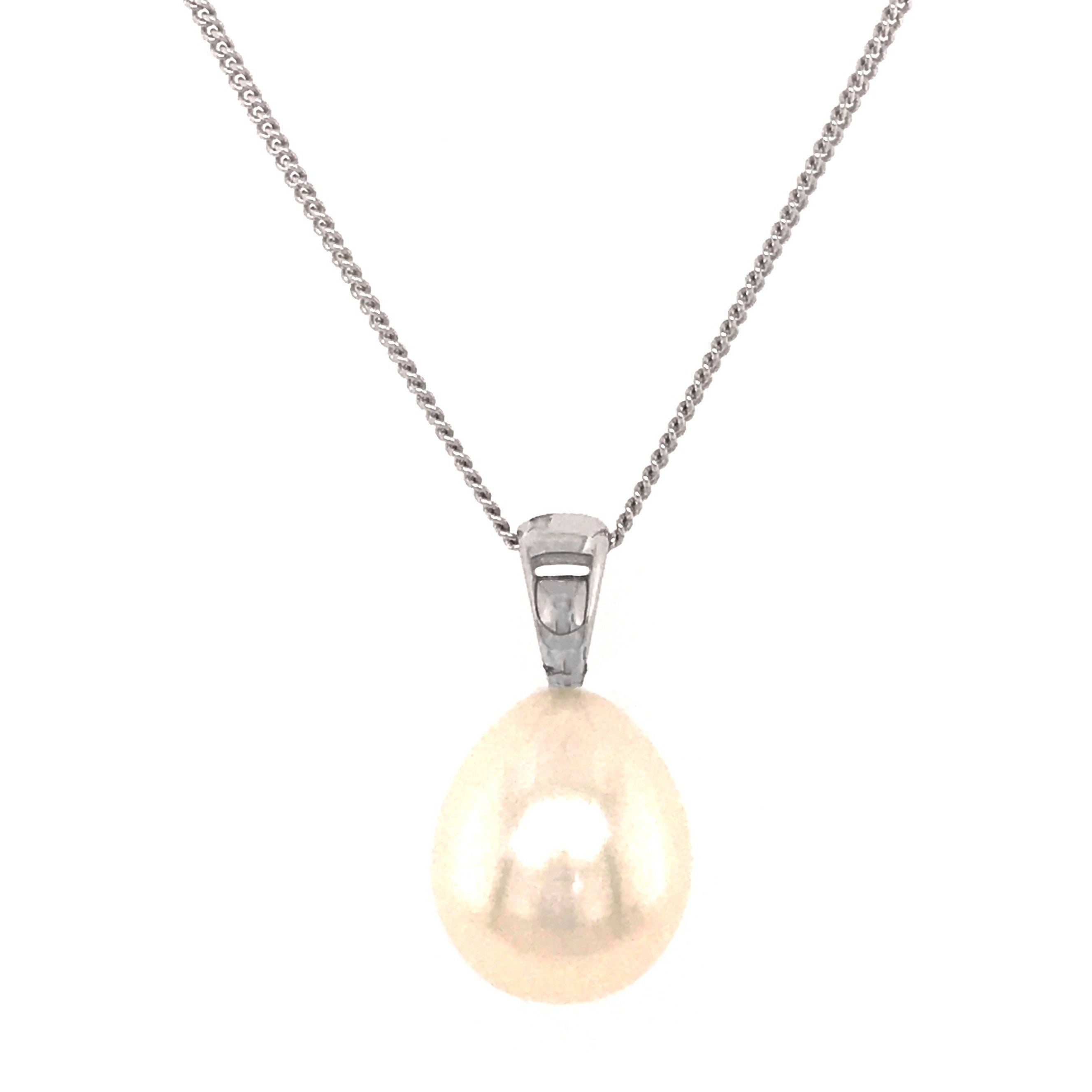 9ct White gold Freshwater Drop Pendant & Chain