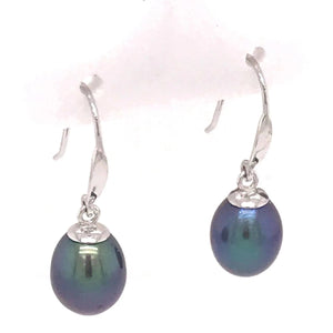 9ct White Gold Black Freshwater Drop Earrings