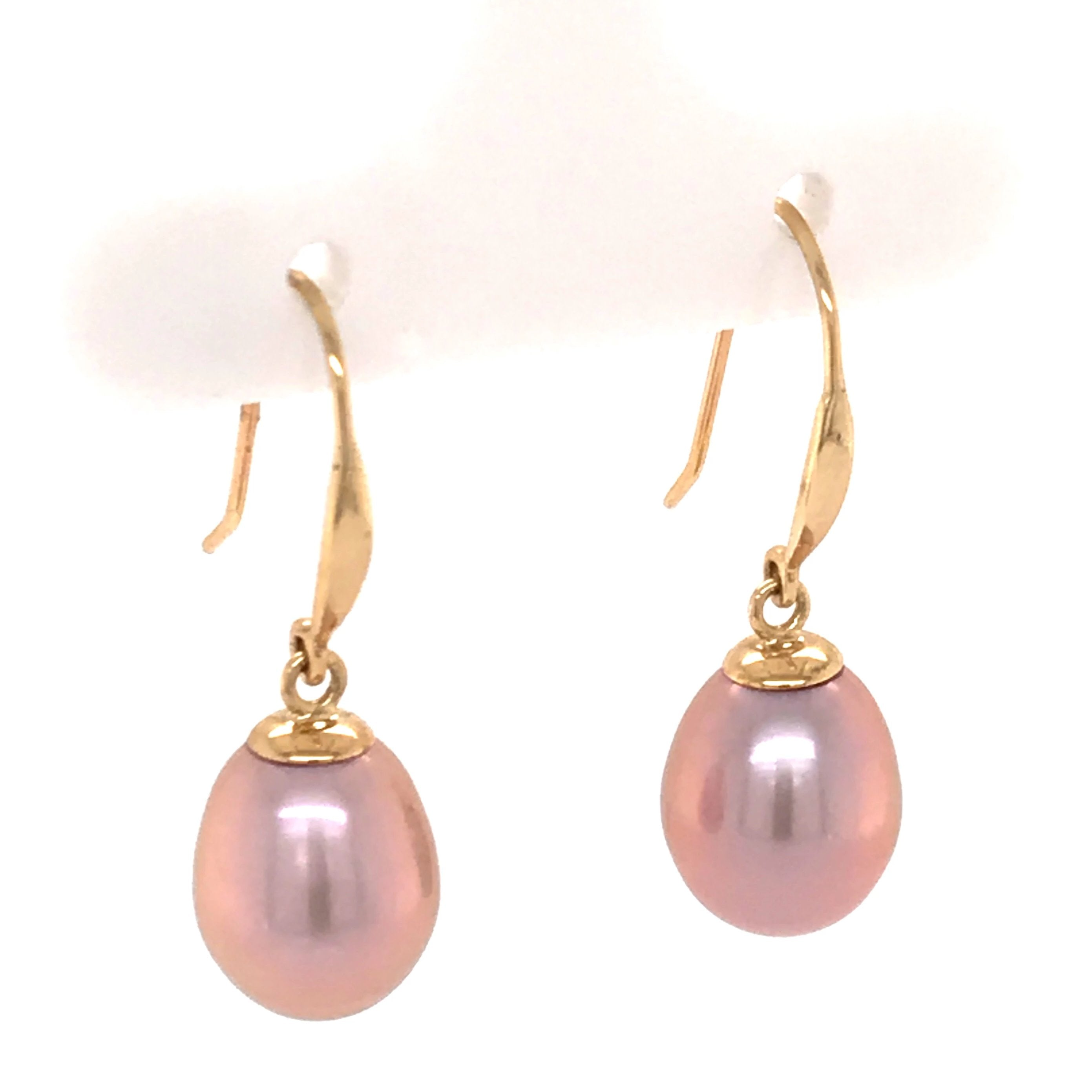 9ct Yellow Gold Pink Freshwater Drop Earrings - Andrew Scott