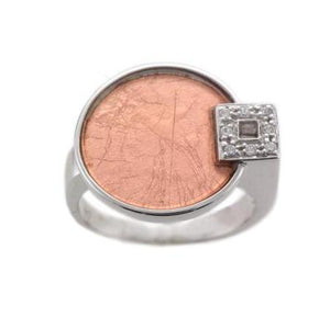 Sterling Silver Ring with a Rose Gold Sheet and CZ Detail