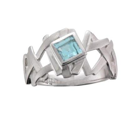 Silver Rhodium Plated Matt & Polished Finish Square Blue Topaz Styx Ring