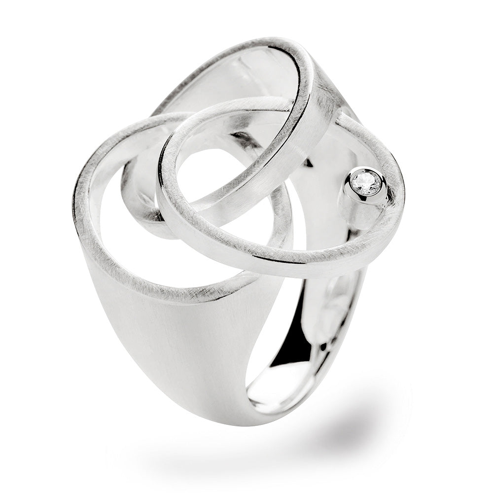 Handmade Sterling Silver and Brilliant-cut Diamond Tri-Linked Circle 0.03ct Ring - Andrew Scott