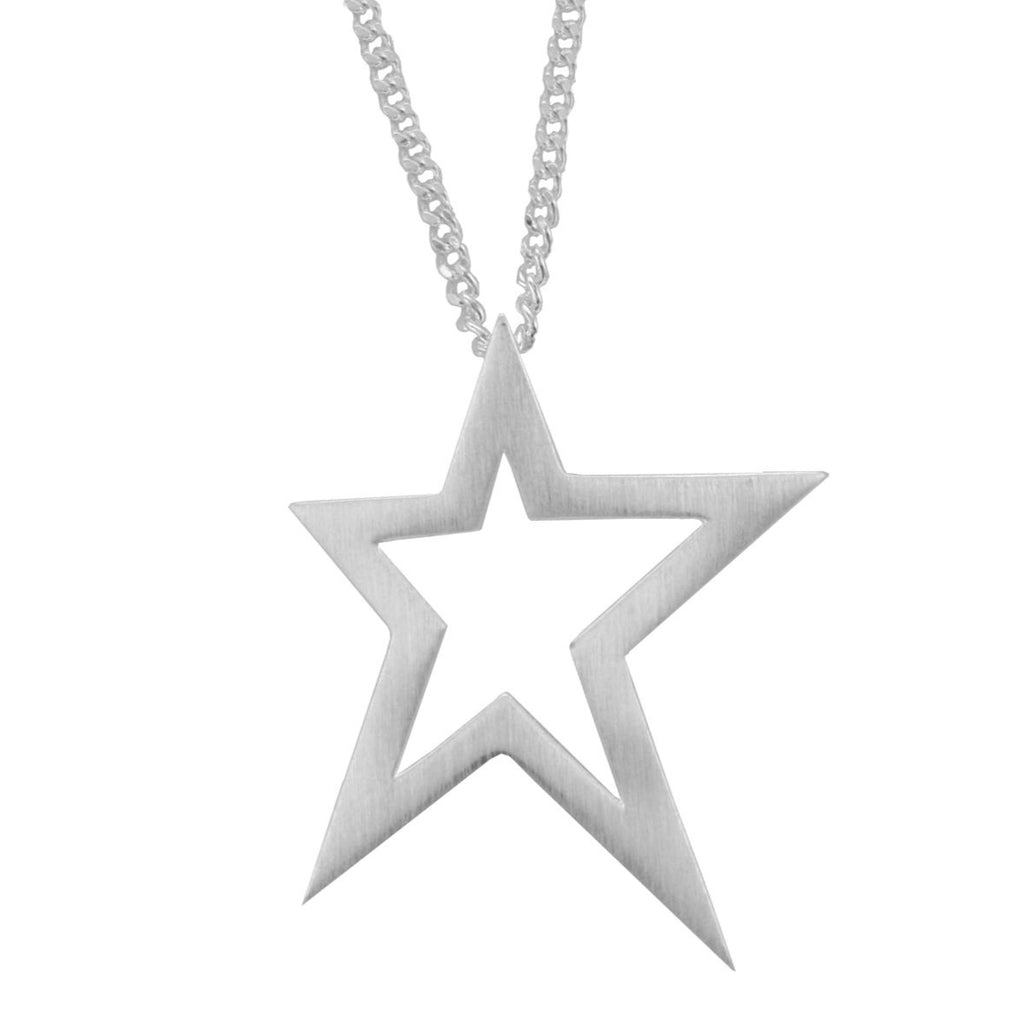"Silver Satin Finish Open Abstract Star Pendant and 18"" Medium Curb Chain - Andrew Scott"