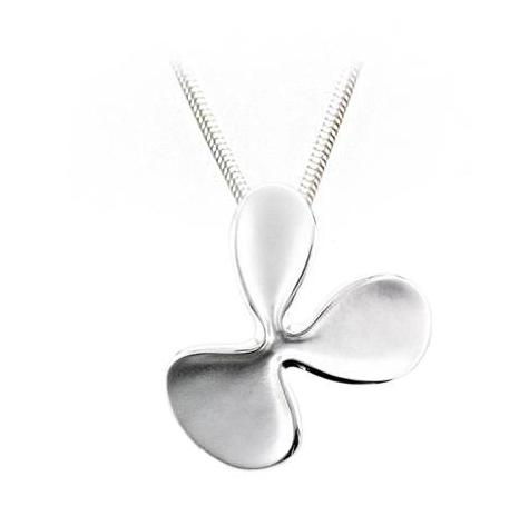 Silver 3 Petal Abstract Flower Pendant & Chain