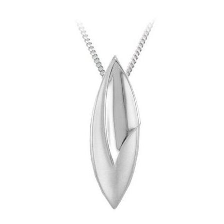 Silver Marquise Pendant & Chain